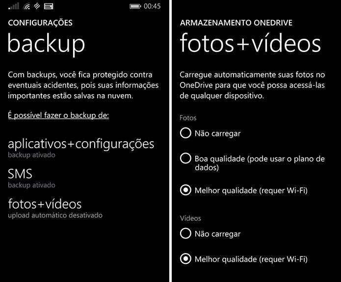 Backup de fotos e vídeos do Windows Phone funciona bem integrado ao sistema (Foto: Reprodução/Elson de Souza)