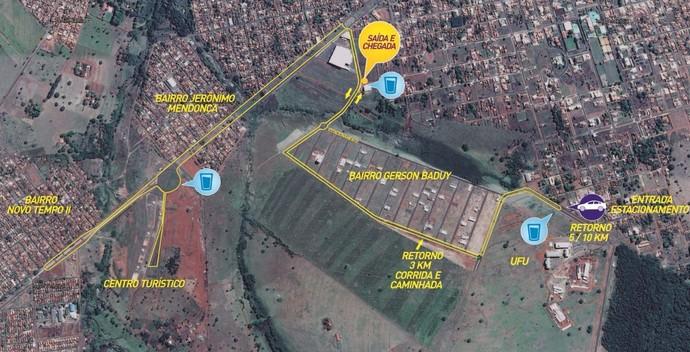 Mapa, trajeto, Ituiutaba, 10km (Foto: Divulgação)