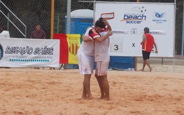 Jogadores do Flamengo comemoram a vitória sobre o Sport (Foto: Bruno Alves/Globoesporte.com)