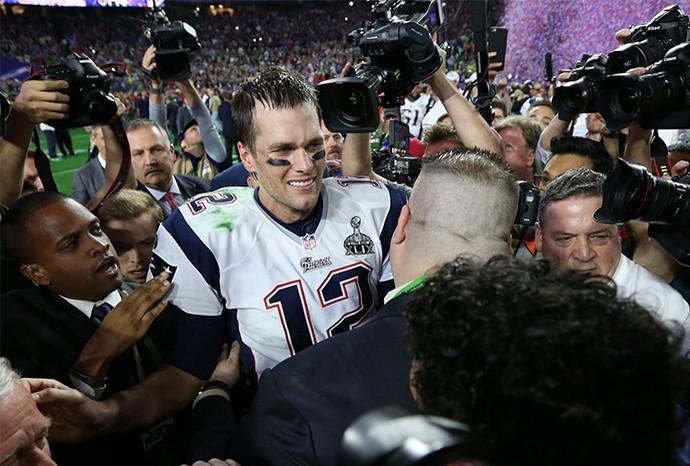 Tom Brady comemora vitória no Super Bowl 2015 (Foto: Perry Knots / NFL)
