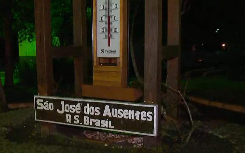Termômetro em São José dos Ausentes na Serra gaúcha (Foto: Reprodução/RBS TV)