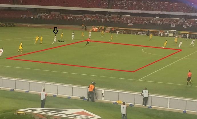 Adiantado, Ganso era pouco efetivo, deixando o São Paulo com um grande espaço no ataque (Foto: GloboEsporte.com)