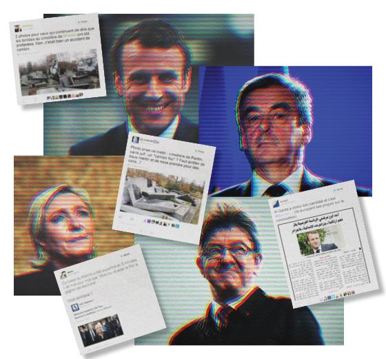 CAMPANHA SUJA A partir do alto, no sentido horário: Macron, Fillon, Mélenchon e Marine Le Pen. A disputa cheia de golpes baixos pode definir o futuro da Europa (Foto: Montagem sobre fotos: Thomas Samson/Reuters, Charles Platiau/Reuters, Bertrand Guay/AFP, Loic Venance/AFP,reprodução (4))