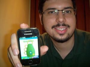 O estudante Glauber Monteiro gravou o som real da caxirola para criar o app 'Caxirola World Cup' (Foto: Arquivo Pessoal)
