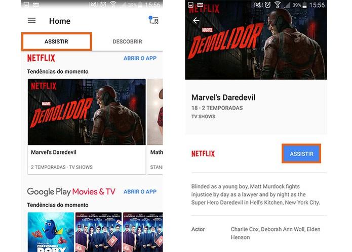 No Google Home há uma aba com sugestões de filmes e vídeos (Foto: Reprodução/Barbara Mannara)