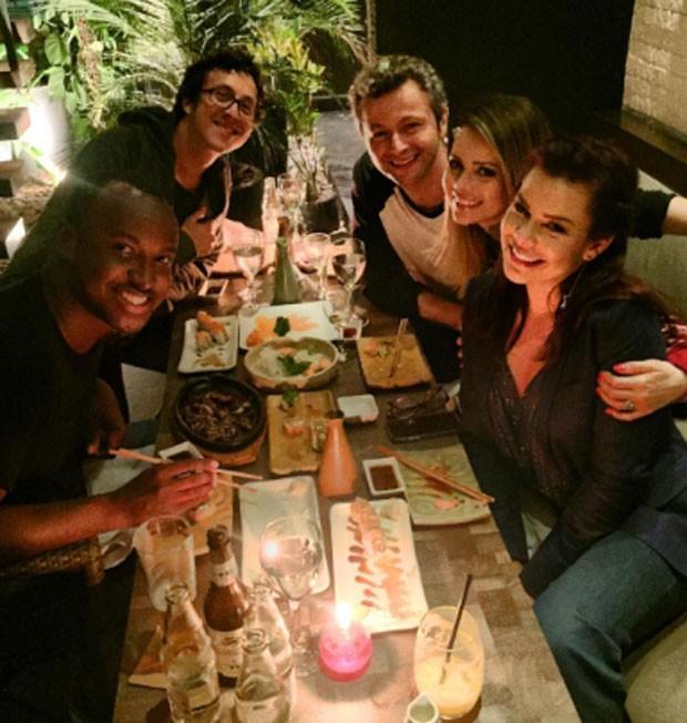 Raphael Vieira, Thiaguinho, Lucas Lima, Sandy e Fernanda Souza (Foto: Reprodução)
