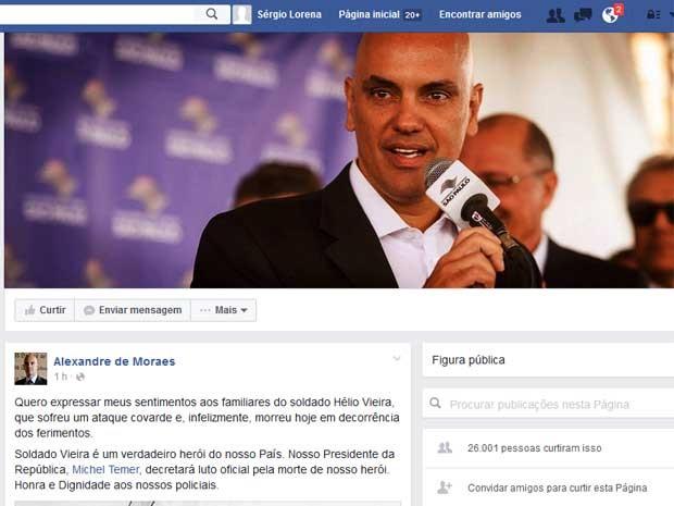 Ministro da Justiça, Alexandre de Moraes, presta solidariedade à família de militar morto no Rio (Foto: Reprodução / Facebook de Alexandre de Moraes)