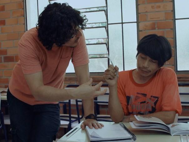 Tá no Quadro: escola ensina as culturas indígena e urbana (Foto: Globo)