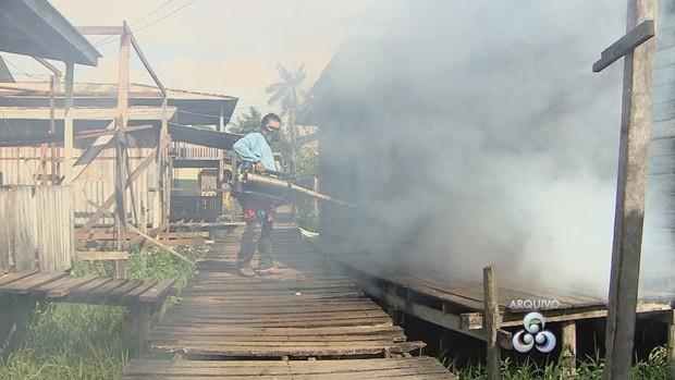 Áreas alagadas na Zona Sul de Macapá são os principais pontos do trabalho (Foto: Amapá TV)