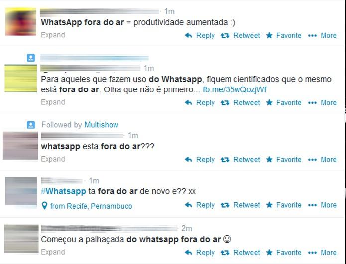 Usuários reclamam no Twitter sobre bug no WhatsApp (Foto: Reprodução/Luciana Maline)