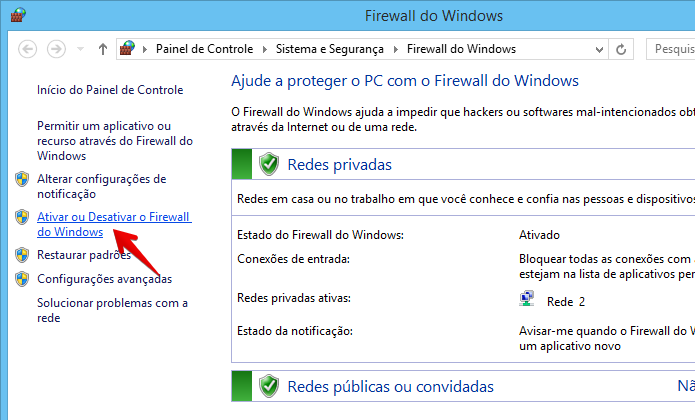 Janela de configuração do firewall (Foto: Reprodução/Helito Bijora)