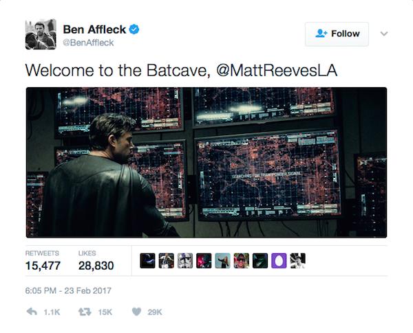 A mensagem de Ben Affleck ao diretor Matt Reeves (Foto: Twitter)