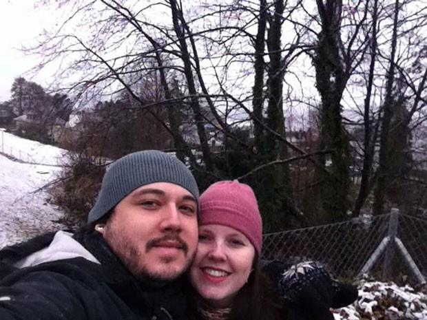 Glauber Ribat e sua mulher, Flávia Marreira, em viagem pela Europa (Foto: Glauber Ribat/Arquivo pessoal)
