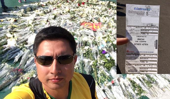 À trabalho no México, o engenheiro brasileiro Lucas Mutran, 27 anos, fã de Chaves, aproveitou para ir ao enterro de Roberto Bolaños, criador do personagem.