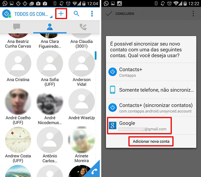 Contacts+ pode adicionar um contato ao Android utilizando a conta do Google do aparelho (Foto: Reprodução/Elson de Souza)
