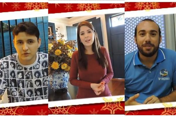 Apresentadores mandam uma mensagem de Natal (Foto: TV Rio Sul)