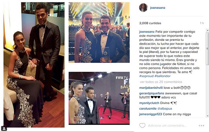 BLOG: Namorada se declara a Dani Alves depois de acompanhá-lo na Bola de Ouro