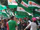 Agricultores fazem protesto em frente ao Ministério da Fazenda, em Brasília