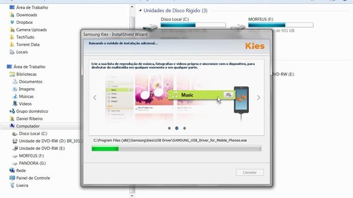 Aguarde o processo de instalação das partes principais e adicionais do Samsung Kies (Foto: Reprodução/Daniel Ribeiro)