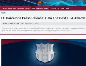 Comunicado Barcelona premiação da Fifa (Foto: Reprodução SporTV)