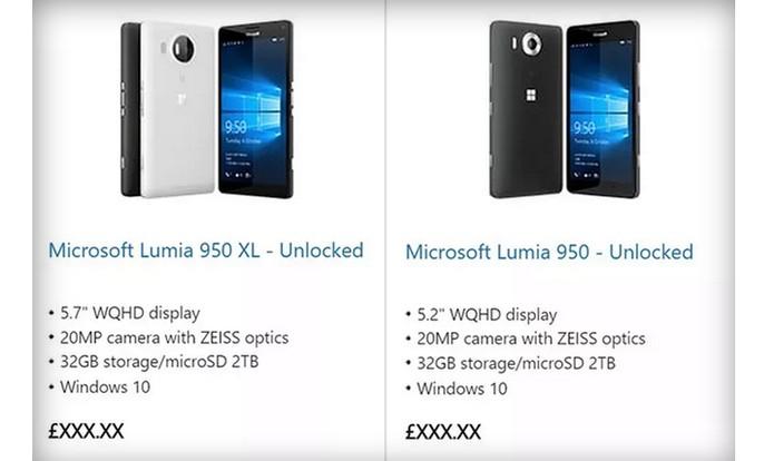 Novos Lumias 950 e 950 XL aparecem na loja da Microsoft (Foto: Reprodução/Barbara Mannara)