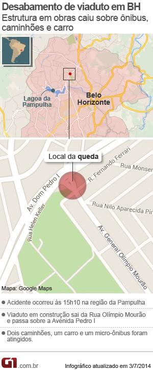 Mapa do local da queda do viaduto em Belo Horizonte (Foto: Arte/G1)