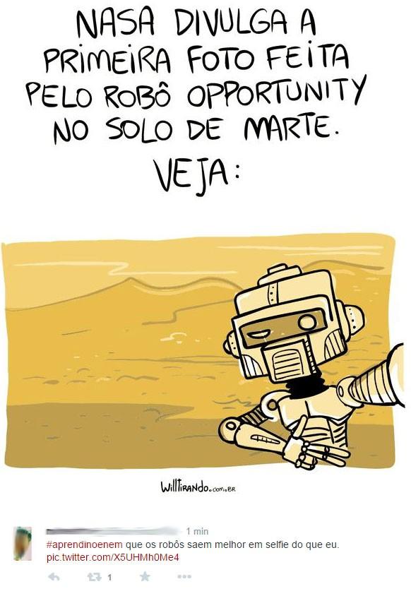 Robôs em Marte fazem selfie? (Foto: Reprodução/Twitter/BrunoFerrazBFR)
