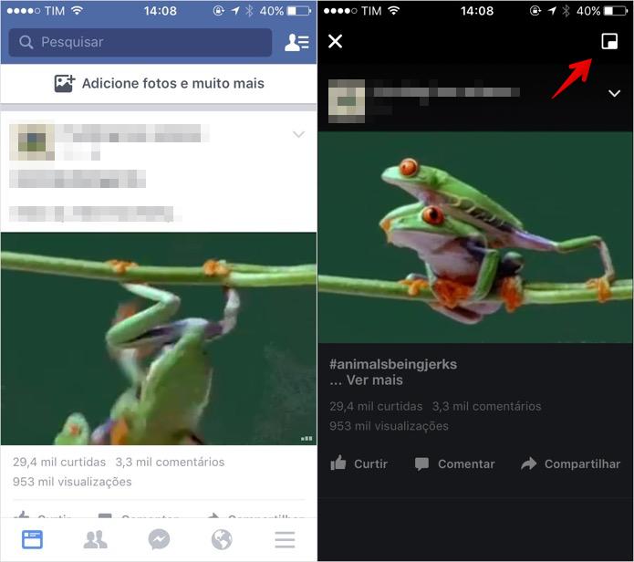 Ativando o modo PIP no aplicativo Facebook (Foto: Reprodução/Helito Bijora)