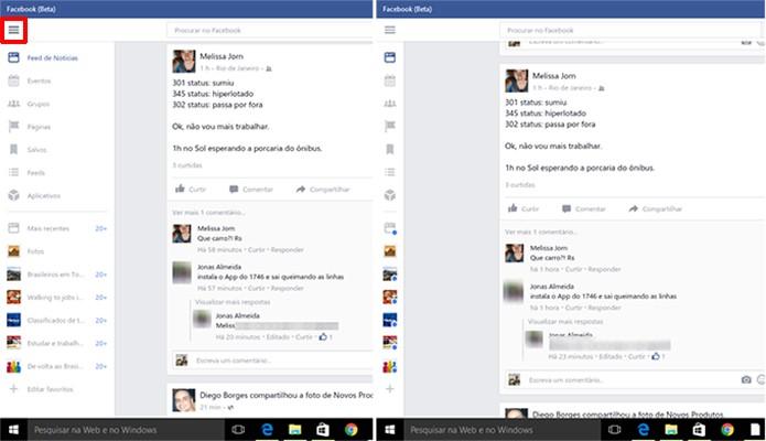 Facebook para Windows 10 tem interface modificável para economizar espaço (Foto: Reprodução/Elson de Souza)