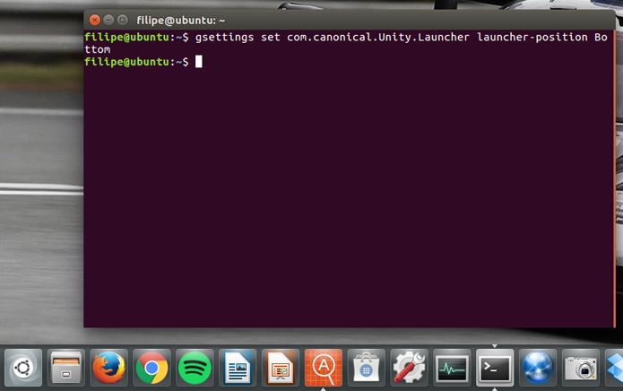 É possível usar um comando simples no Terminal para mover o launcher (lançador) do Ubuntu (Foto: Reprodução/Filipe Garrett)