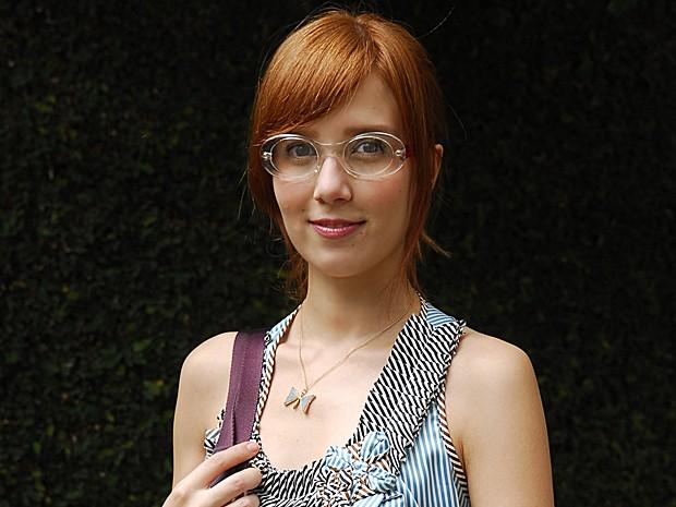 Marjorie usava óculos de grau e franjinha como a doce Tônia (Foto: Renato Rocha Miranda / TV Globo)