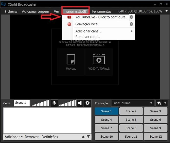 Clique em Transmissão e depois, selecione YouTube Live (Foto: Reprodução/Juliana Pixinine)