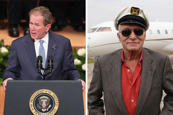 Os primos de décimo primeiro grau George W. Bush e Hugh Hefner (Foto: Getty Images)