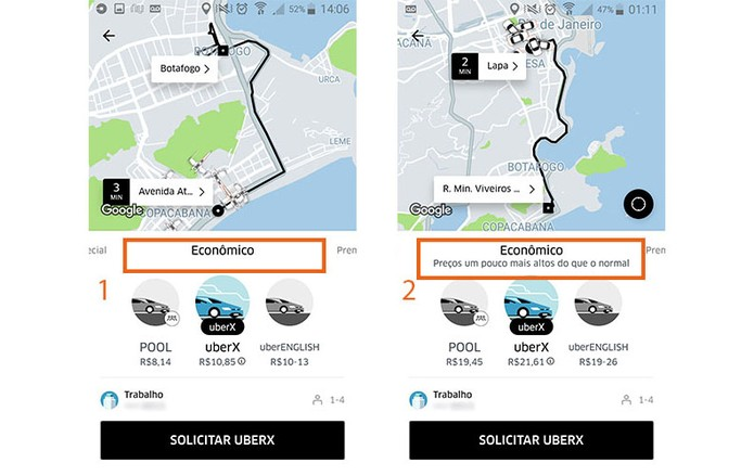 Veja o alerta de preço dinâmico no Uber (Foto: Reprodução/Barbara Mannara)