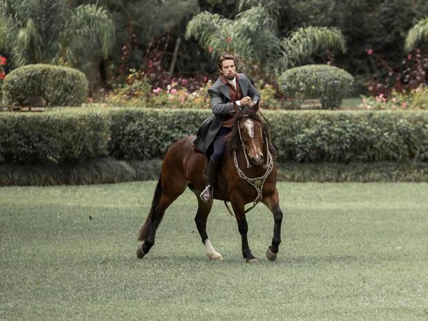 Rafael se divertiu ao gravar com a sua égua  (Foto: Fábio Rocha/Gshow)