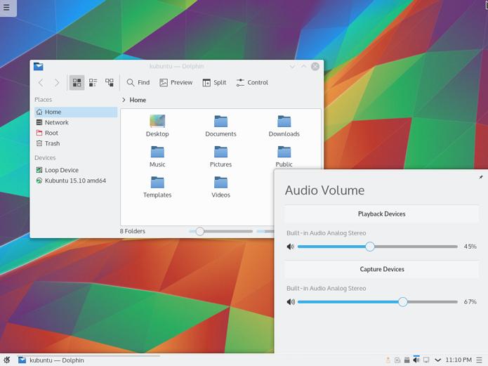 Kubuntu tem um aspecto similar ao Windows, com barra inferior e botão iniciar (Foto: Divulgação/Kubuntu)