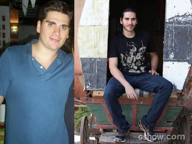 Gabriel em foto posando com fã e hoje, com o visual para viver Viramundo (Foto: arquivo pessoal / Carol Caminha/TV Globo)