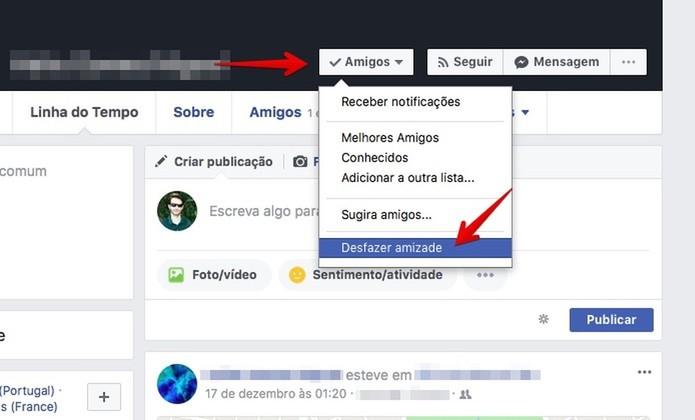 Removendo um amigo do Facebook  (Foto: Reprodução/Helito Bijora)