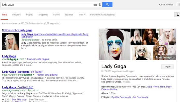 Google localiza automaticamente informações sobre celebridades (foto: Reprodução/Google) (Foto: Google localiza automaticamente informações sobre celebridades (foto: Reprodução/Google))