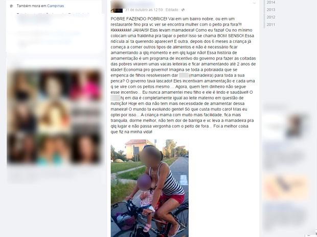 Estudante de Campinas critica foto de mulher amamentando em rede social (Foto: Reprodução / Facebook)