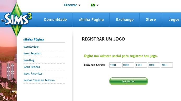 Registre seus jogos no site oficial de The Sims 3 (Foto: Reprodução)