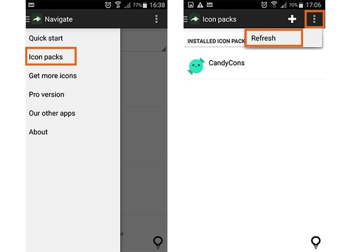 Atualize a lista de pacotes de ícones no app (Foto: Reprodução/Barbara Mannara) (Foto: Atualize a lista de pacotes de ícones no app (Foto: Reprodução/Barbara Mannara))
