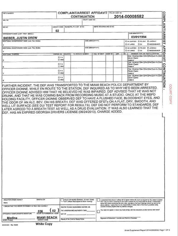 Relatório da prisão (Foto: Divulgação/ Departamento de Polícia de Miami)