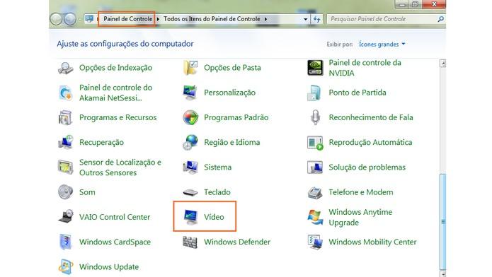 Acesse o painel de controle pelo computador e clique em vídeo (Foto: Reprodução/Barbara Mannara)