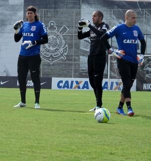 cassio julio cesar e danilo Corinthians treino (Foto: Rodrigo Faber )