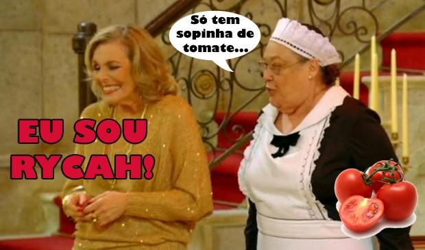 Olívia oferece sopa de tomate para Charlô (Foto: Guerra dos Sexos / TV Globo)