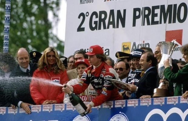Pódio GP San Marino Fórmula 1 1982 Gilles Villeneuve Didier Pironi (Foto: Reprodução)
