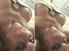 Solange Gomes posa enrolada em toalha e exibe fartura