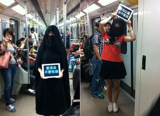 A campanha do metrô de Xangai recomenda às mulheres se darem ao respeito se não querem ser abusadas por pervertidos (Foto: Reprodução)