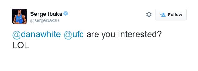 Ibaka responde Barnes com sugestão para o presidente do UFC, Dana White (Foto: Reprodução/Twitter)